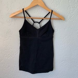 Lululemon Size 4 Strappy Back Tank Black *LUON*